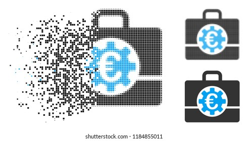 Euro bank case icon in dissolved, dotted halftone and entire variants. Particles are grouped into vector disappearing Euro bank case icon. Disappearing effect involves rectangle particles.