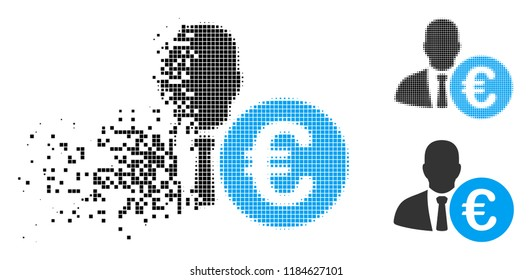 Euro banker icon in dissolved, dotted halftone and original variants. Particles are arranged into vector disappearing Euro banker symbol. Disappearing effect uses rectangle particles.