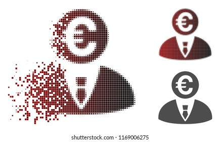 Euro banker icon in fractured, dotted halftone and undamaged entire variants. Particles are composed into vector disappearing Euro banker icon.
