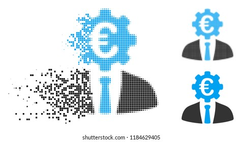 Euro banker icon in fractured, pixelated halftone and solid versions. Pieces are organized into vector dispersed Euro banker icon. Disintegration effect involves square particles.