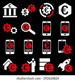 Euro banking business and service tools icons. These flat bicolor icons use red and white colors. Images are isolated on a black background. Angles are rounded.