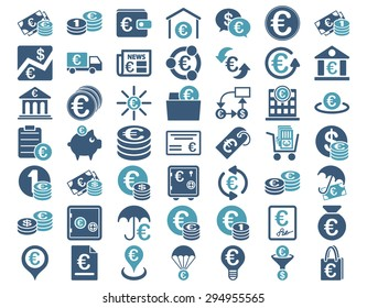 Euro Banking Icons. These flat bicolor icons use cyan and blue colors. Vector images are isolated on a white background.