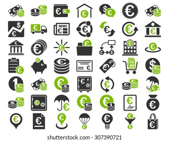 Euro Banking Icons. These flat bicolor icons use eco green and gray colors. Vector images are isolated on a white background.