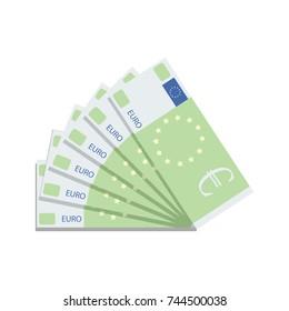Euro banknote fan. Currency money cash, finance euro banknote, europe money vector illustration