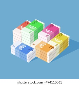 Euro banknotes. Big stack of money. Simple, flat style. Graphic vector illustration.