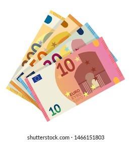 Euro banknotes flat vector illustration. European money currency, paper banknotes isolated clipart on white background. Ten, twenty, fifty, euro cash design elements. Capital, change, payment