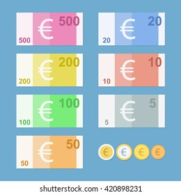 Euro banknotes. Money coins. Simple, flat style. Graphic vector illustration.