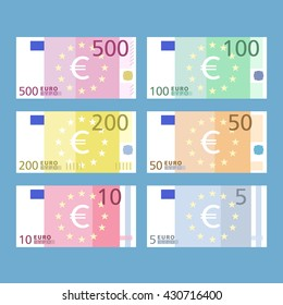 Euro banknotes. Paper money. Simple, flat style. Graphic vector illustration.