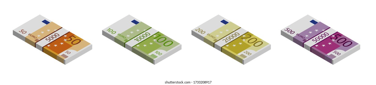 Euro banknotes stacks of 500, 200, 100 and 50. Isometric view on a white background