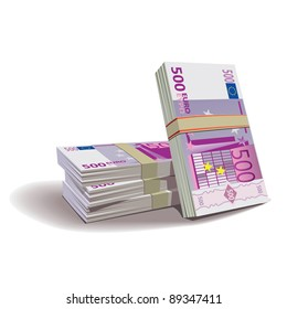 Euro banknotes vector illustration in color, financial theme ; isolated on background.