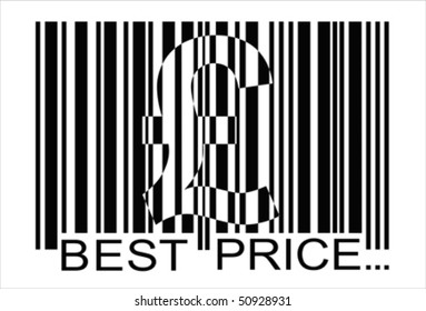 euro barcode,  best price, isolated over white background and groups