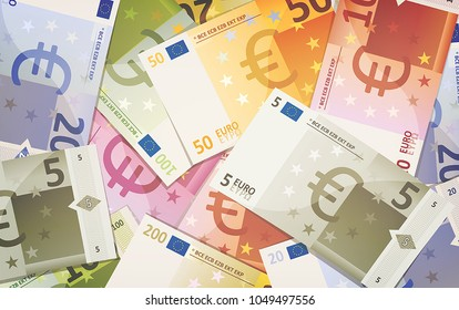 Euro Bills Background/ Illustration of a background of fake euro bills currency specimen, with amount from five to five hundred