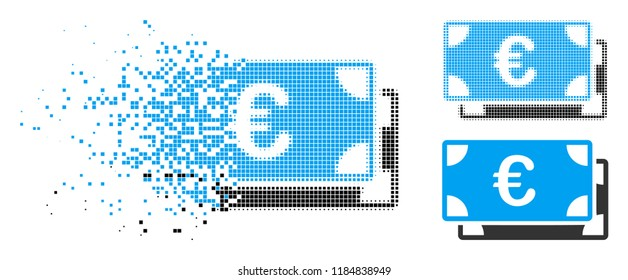Euro bills icon in fragmented, pixelated halftone and original versions. Cells are combined into vector disappearing Euro bills icon. Disappearing effect involves rectangle particles.
