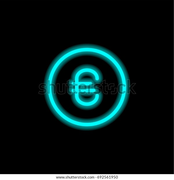 Euro blue glowing neon ui ux icon. Glowing sign logo vector