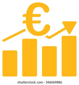 Euro Business Chart vector icon. Style is flat symbol, yellow color, rounded angles, white background.