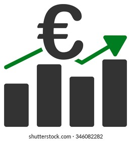Euro Business Chart vector icon. Style is bicolor flat symbol, green and gray colors, rounded angles, white background.
