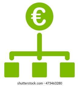 Euro Cash Flow icon. Vector style is flat iconic symbol with rounded angles, eco green color, white background.