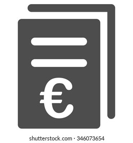 Euro Catalog List vector icon. Style is flat symbol, gray color, rounded angles, white background.