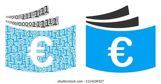 Euro checkbook collage icon of zero and null digits in variable sizes. Vector digits are arranged into Euro checkbook mosaic design concept.