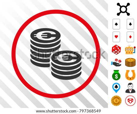 96fa97c0b927 Euro Coin Columns gray icon inside red round frame with bonus casino clip  art. Vector