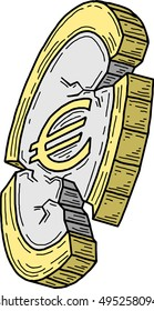 Euro coin damaged (vector)