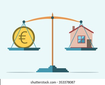 Euro coin and house on scales. Real estate, rental, expense, liabilities and mortgage concept. EPS 8 vector illustration, no transparency