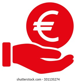 Euro Coin Payment vector icon. Style is flat red symbol, rounded angles, white background.