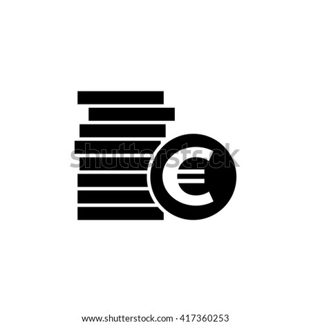 Euro coins vector icon. Pile of money  icon vector.