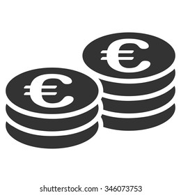 Euro Coins vector icon. Style is flat symbol, gray color, rounded angles, white background.