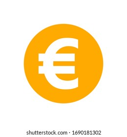euro currency coin orange for icon isolated on white, euro money for app symbol, simple flat euro money, currency digital euro coin for financial concept, vector