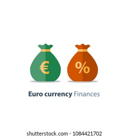 Euro currency money bag, interest rate percentage sign, business and finance, return on investment, financial solution, prepayment and down payment concept, income tax, vector icon