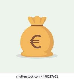 Euro currency, money bag. Simple, flat style. Graphic vector illustration.