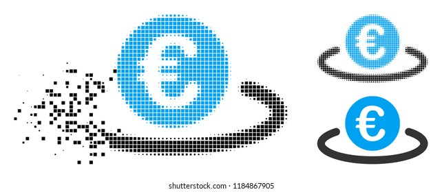 Euro deposit icon in dissolved, pixelated halftone and undamaged versions. Cells are grouped into vector disappearing Euro deposit icon. Disappearing effect uses rectangle dots.