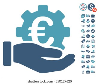 Euro Development Service Hand icon with free bonus graphic icons. Vector illustration style is flat iconic symbols, cyan and blue colors, white background.
