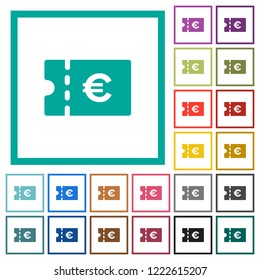 Euro discount coupon flat color icons with quadrant frames on white background