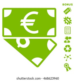 Euro and Dollar Banknotes icon with bonus pictograms. Vector illustration style is flat iconic symbols, eco green color, white background, rounded angles.