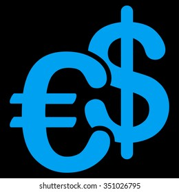 Euro Dollar Currency vector icon. Style is flat symbol, blue color, rounded angles, black background.