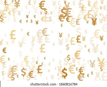 Euro dollar pound yen gold symbols scatter money vector design. Forex pattern. Currency pictograms british, japanese, european, american money exchange elements graphic design.