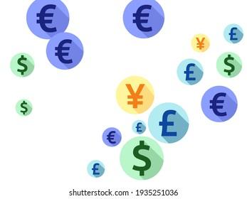 Euro dollar pound yen round signs scatter money vector illustration. Commerce backdrop. Currency symbols british, japanese, european, american money exchange elements background.