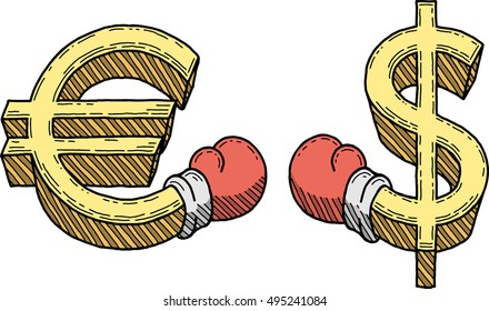 Euro and dollar signs boxing (vector)