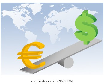 euro and dollar symbols on seesaw-concept of global currencies unstability and financial crisis