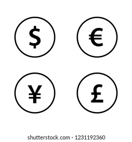 Euro, Dollar, Yen and Pound vector icon. Money Icon set. Currency Set.