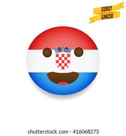 Euro emoji. Croatia Flag Emoticon. Emoticon sport fan. Emoji isolated.