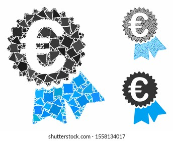 Euro featured price tag mosaic of bumpy pieces in various sizes and color tints, based on Euro featured price tag icon. Vector tuberous pieces are combined into mosaic.