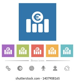 Euro financial graph flat white icons in square backgrounds. 6 bonus icons included.