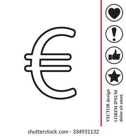 Euro flat line icon. Vector illustration.