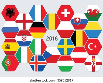 Euro football competition team flags. European soccer cup