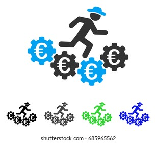 Euro Gears Runner flat vector icon. Colored euro gears runner gray, black, blue, green icon variants. Flat icon style for graphic design.