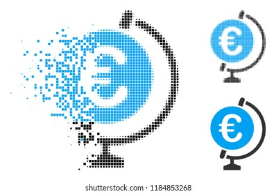 Euro globe icon in dispersed, dotted halftone and whole versions. Fragments are grouped into vector disappearing Euro globe pictogram. Disappearing effect uses rectangle scintillas.