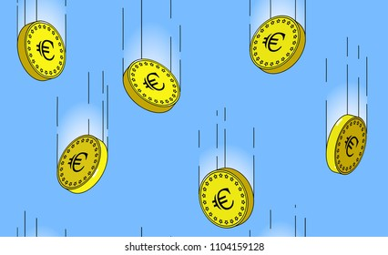 euro gold coins falling in the air, on blue background, seamless pattern